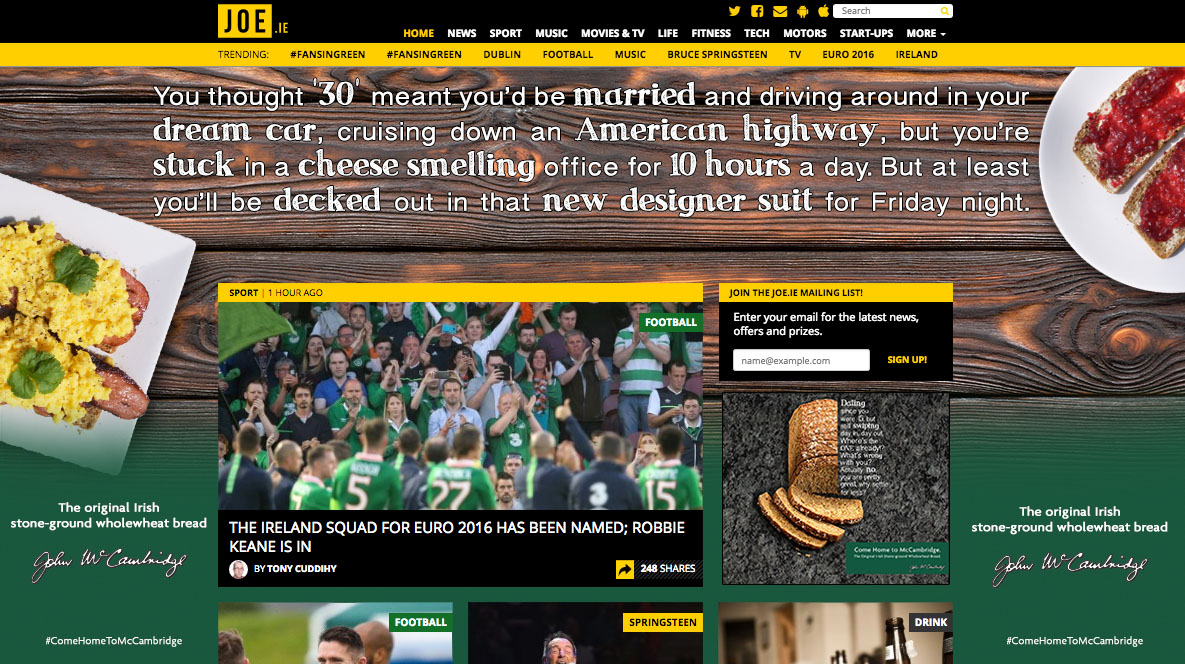 Joe.ie Homepage Takeover