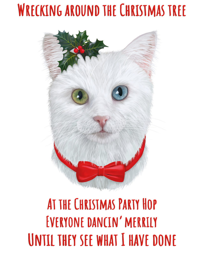 Carolling White Cat